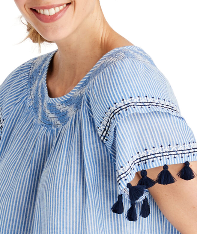 Striped Embroidered Tassel Sleeve Top
