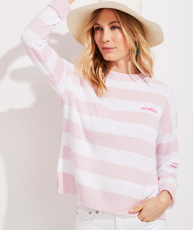 Palm Beach Lately Cotton Striped Crewneck Sweater