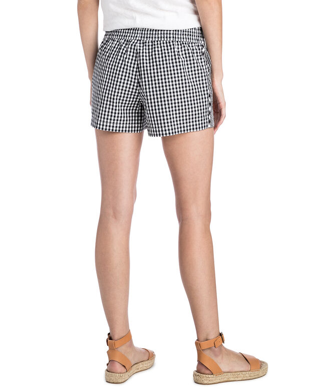 Mixed Gingham Embroidered Pull On Shorts