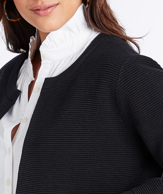 Grosgrain Trim Ribbed Open Cardigan