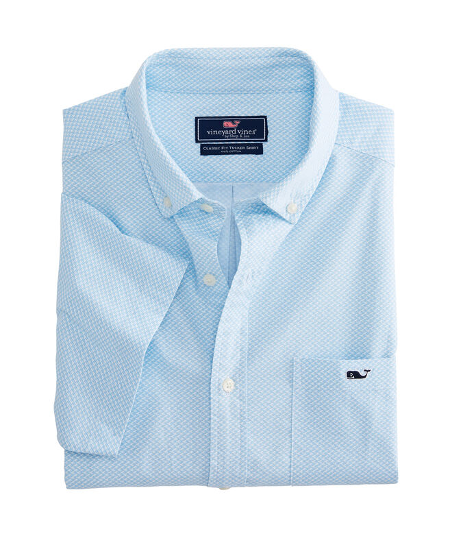 Big & Tall Mini Waves Short-Sleeve Classic Tucker Shirt