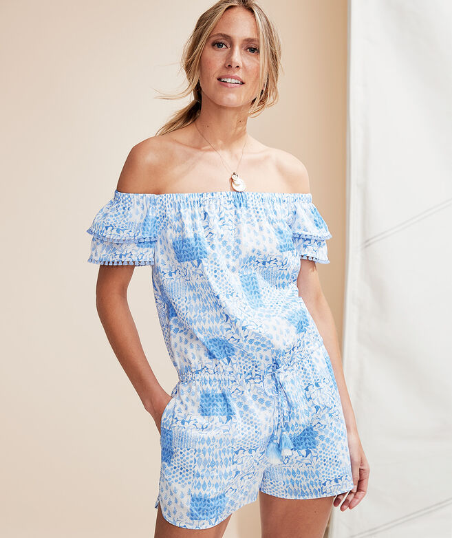 Painted Patchwork Ruffle Off The Shoulder Romper