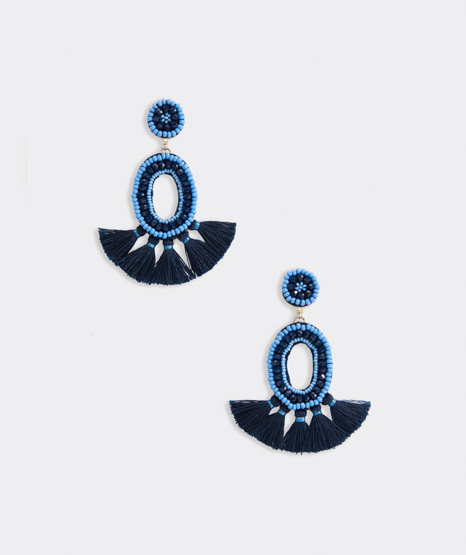 Oval Beaded Tassel Earrings