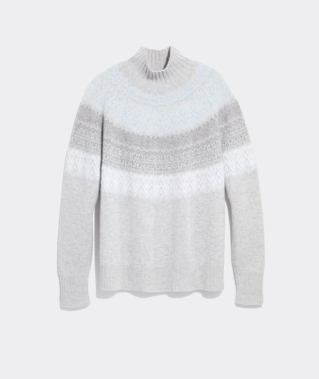 Fair Isle Tonal Mockneck Sweater