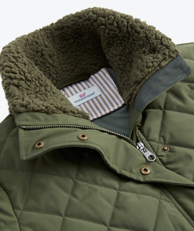Short Quilted Sherpa Collar Jacket