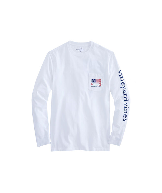 Long-Sleeve Lacrosse Flag Pocket T-Shirt