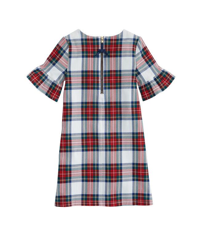 Girls Plaid Bell Sleeve Holiday Dress