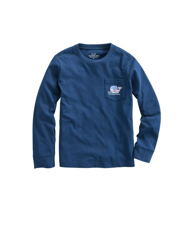 Boys Long-Sleeve Hockey Whale Pocket T-Shirt