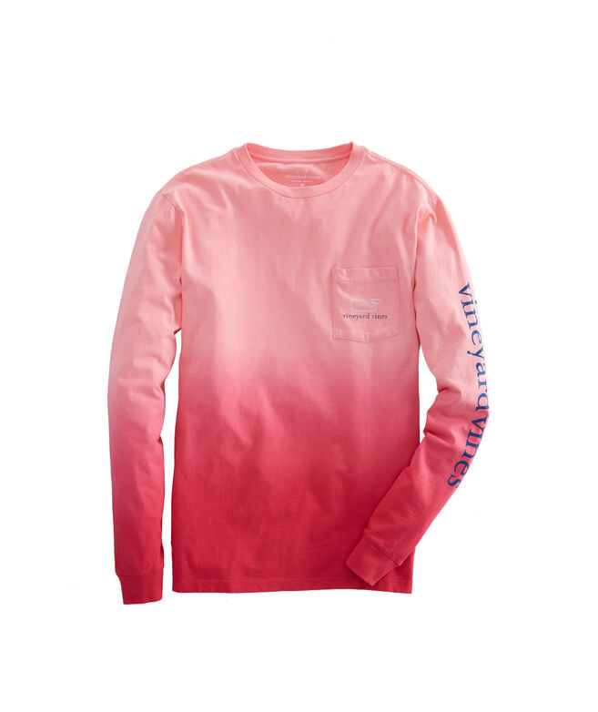 Long-Sleeve Dip Dyed Two-Tone Vintage Whale Pocket T-Shirt