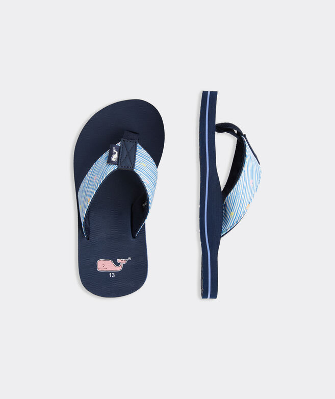 Girls' Watercolor Stripe Classic Flip Flops