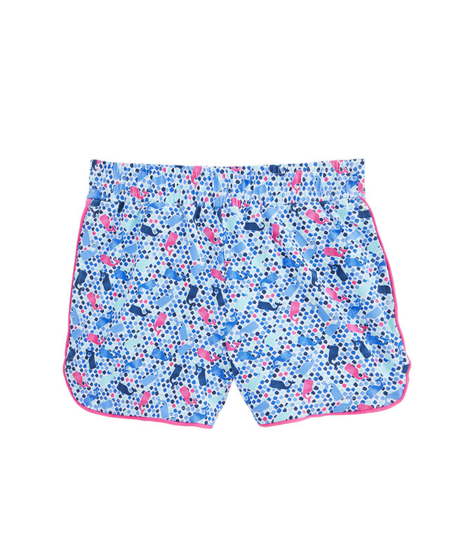 Girls Tiny Diamond Whale Print Knit Pull-On Shorts