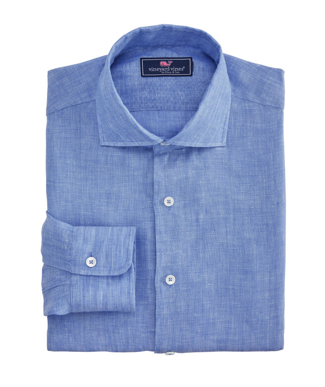 Classic-Fit Linen French Placket Greenwich Dress Shirt