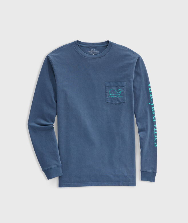 Garment Dyed Vintage Whale Long-Sleeve Pocket Tee