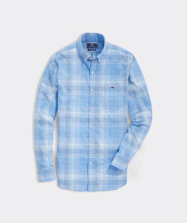 Slim Fit Cay Plaid On-The-Go Tucker Performance Tucker Shirt