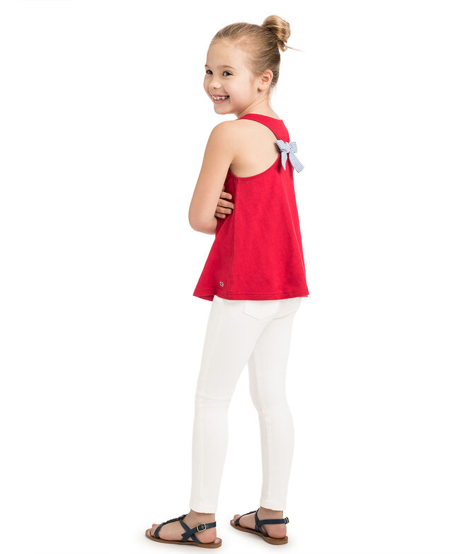 Girls Bow Back Slub Jersey Tank