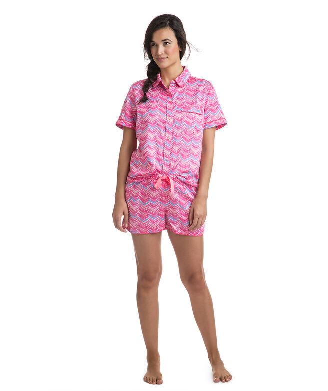 Watercolor Whale Tail Cotton Sateen Lounge Short Set
