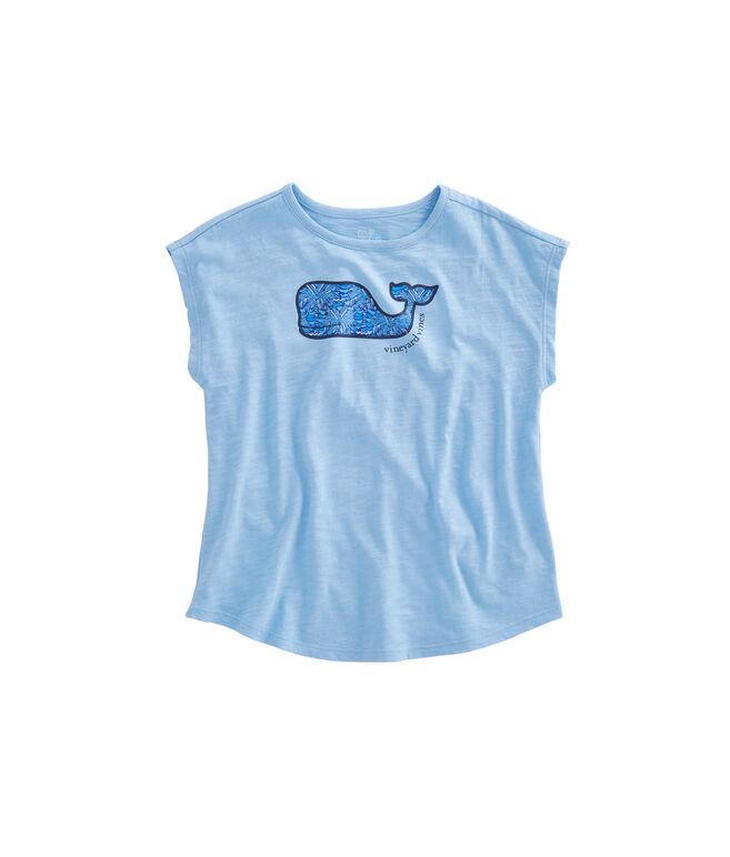 Girls Slub Palmetto Whale Tee