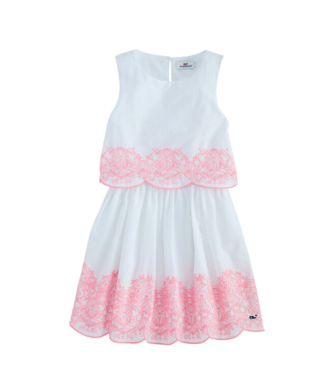 Girls Embroidered Tiered Shift Dress