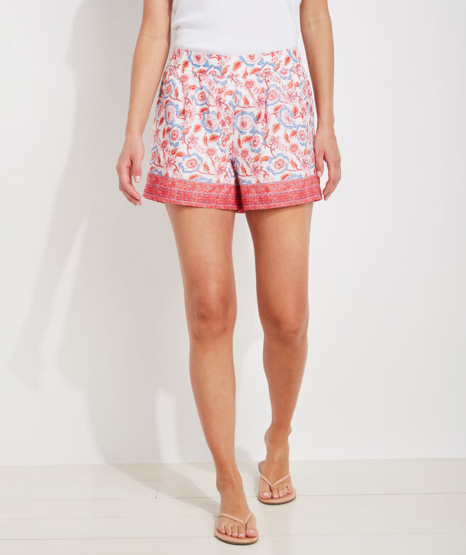 Frangipani Floral Luxe Pull-On Shorts