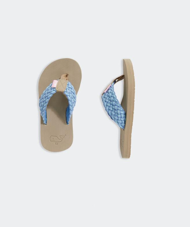 Girls' Multi Color Braided Flip Flops