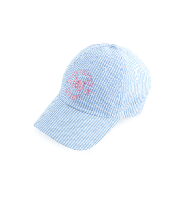 Kentucky Derby Seersucker Bow Back Baseball Hat