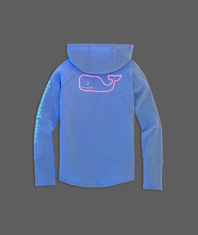 Girls' Glow Whale Long-Sleeve Hoodie Tee