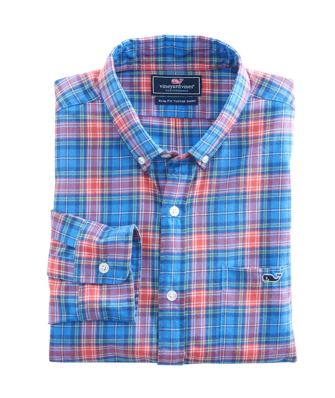 Kingsley Park Plaid Performance Flannel Slim Tucker Shirt
