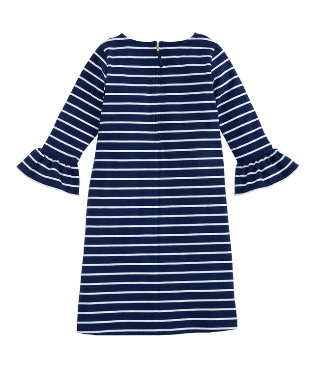 Girls Break Stripe Ruffle Sleeve Dress