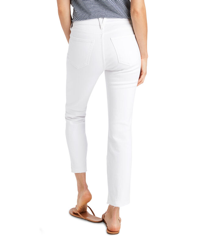 Straight Raw Hem White Jeans