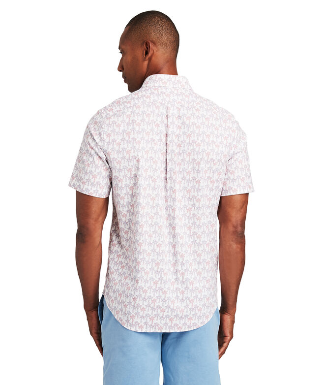 Slim Fit Mini Palm Pattern Short-Sleeve Murray Shirt