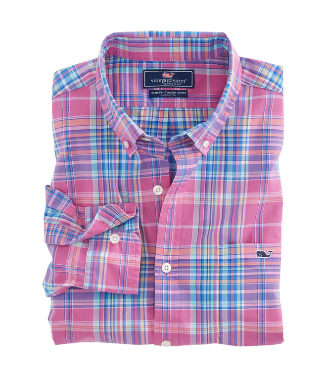 Coral Cliff Plaid Slim Murray Shirt