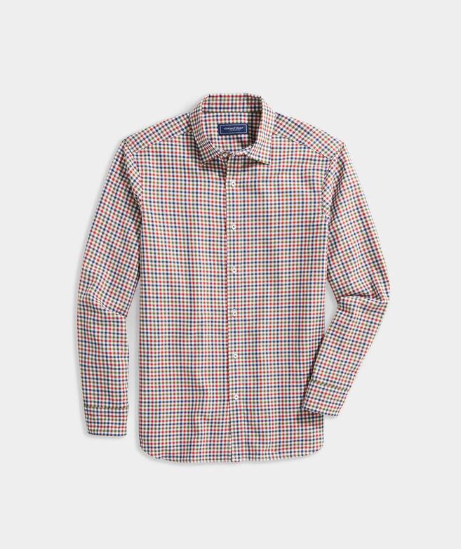 Spread Collar Cotton Cashmere Check Shirt
