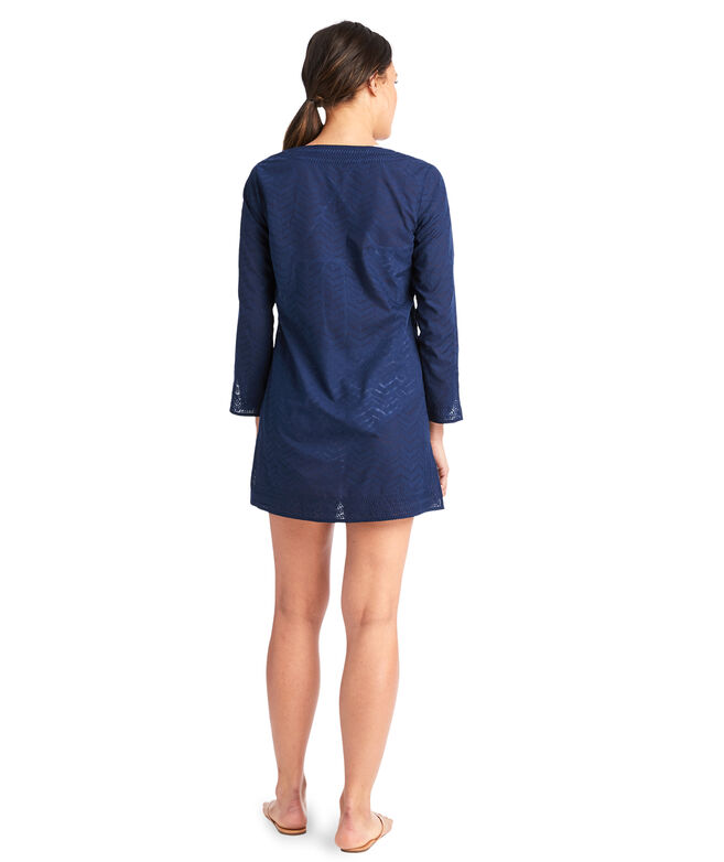 Linear Whale Tail Burnout Tunic Cover-Up