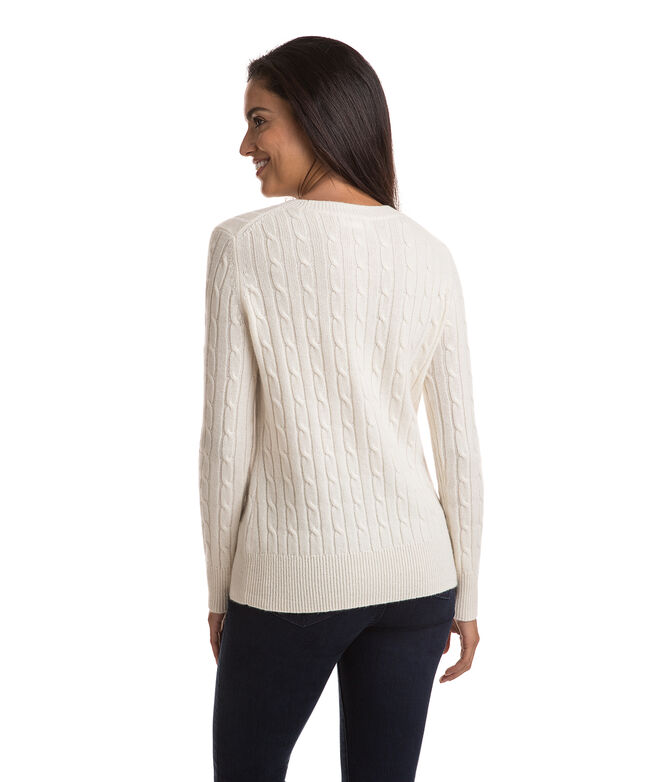 Cashmere Coral Lane Cable Sweater