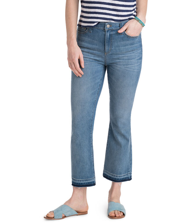 Cropped Indigo Kick Flare Denim