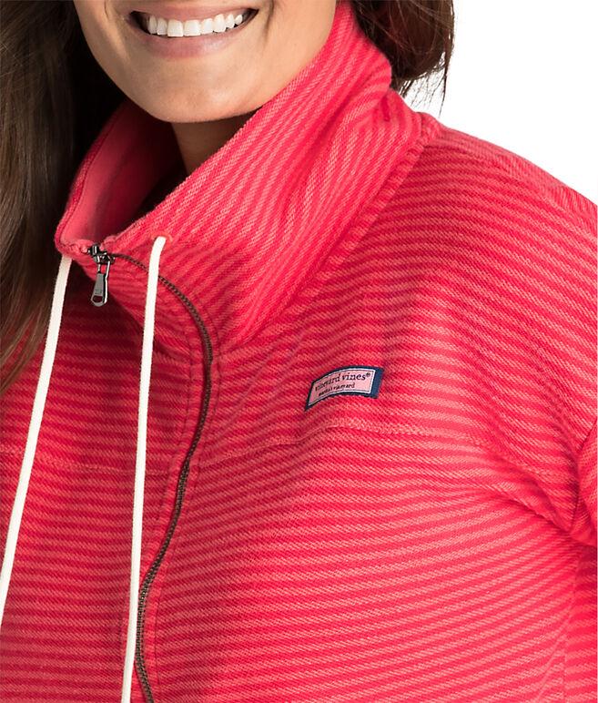 Tonal Striped Full Zip Shep Shirt