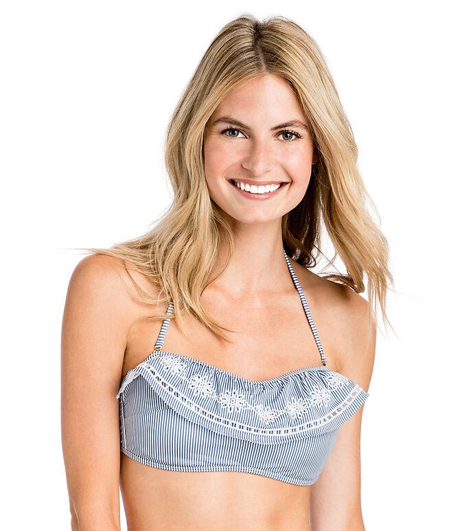 Sandbar Stripe Eyelet Embroidered Ruffle Bikini Top