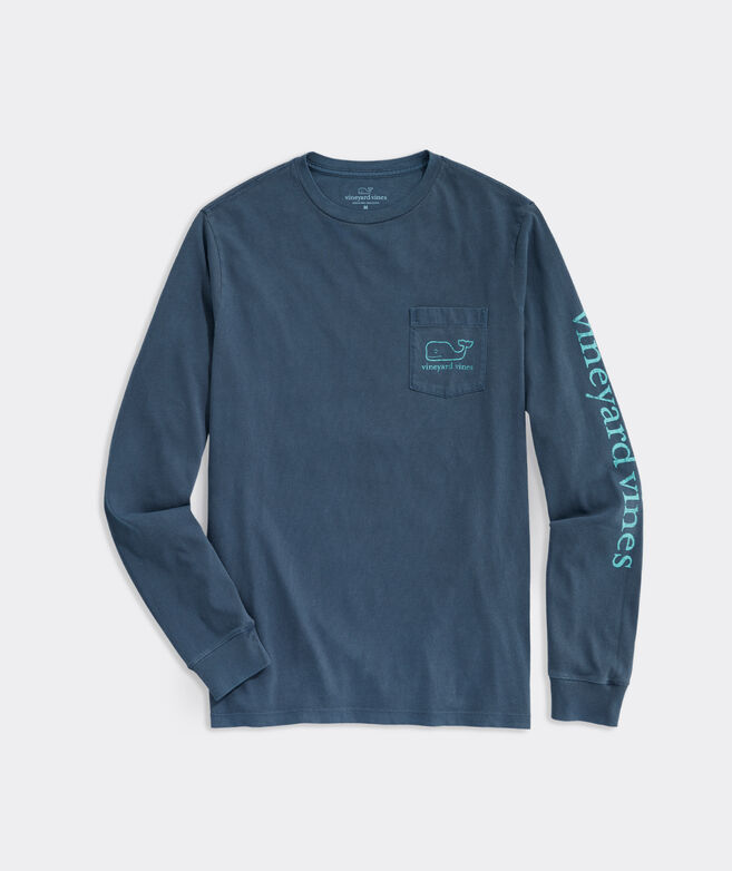 Garment Dyed Vintage Whale Long-Sleeve Pocket Tee