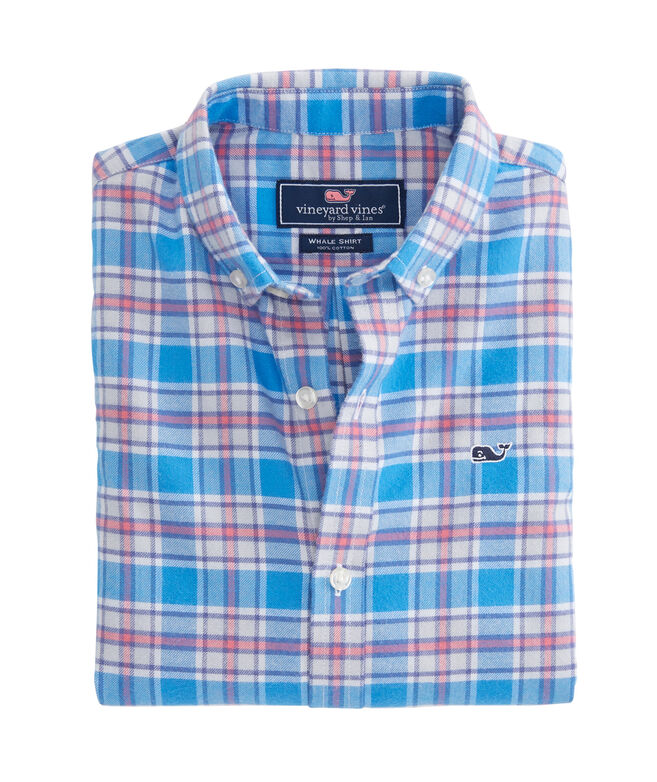 Boys Sandy Point Plaid Flannel Whale Shirt