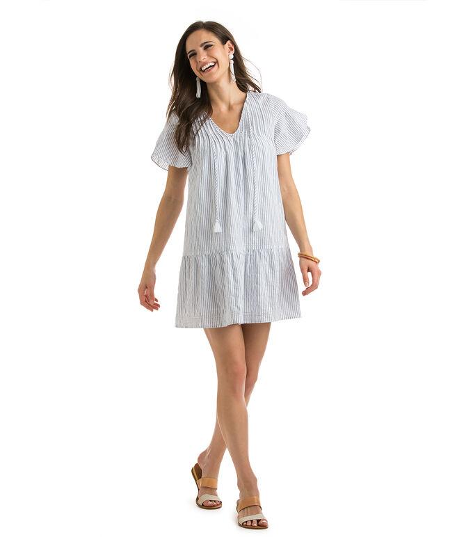 Pintucked Stripe Flutter Sleeve Dress