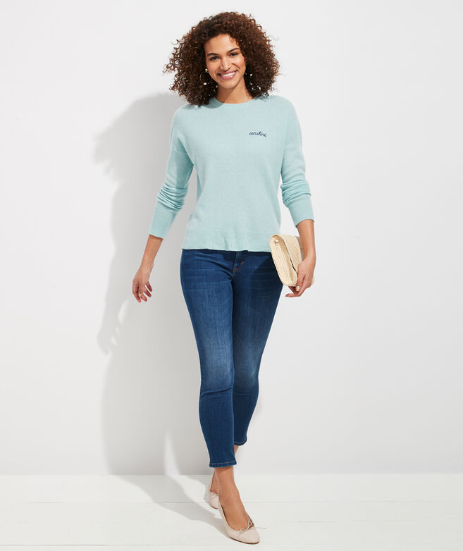 Embroidered Lofty Cashmere Crewneck Sweater