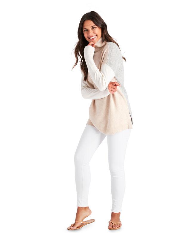 Colorblock Cashmere Turtleneck Sweater