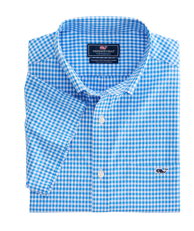 OUTLET Men's Blanchard Gingham Performance Classic Short Sleeve Whale Shirt