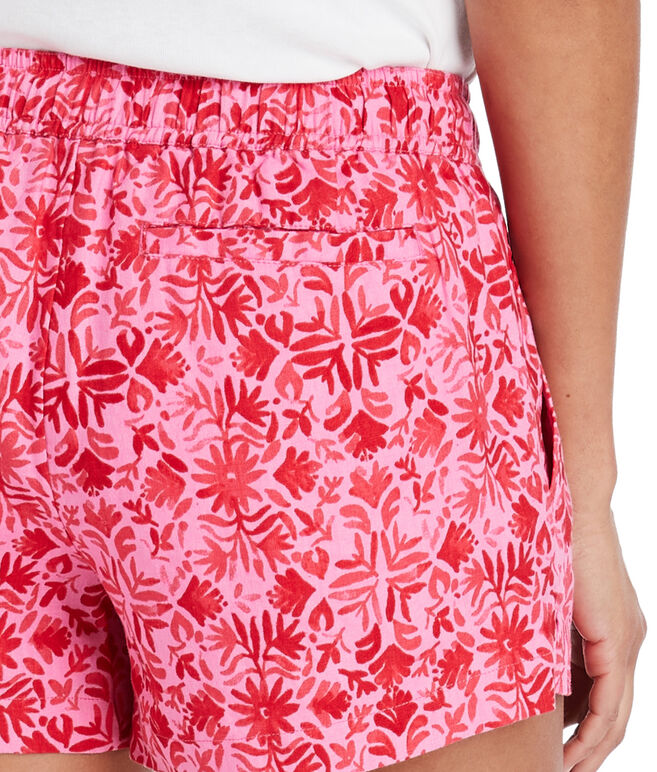 Tile Otomi Linen Pull-On Shorts
