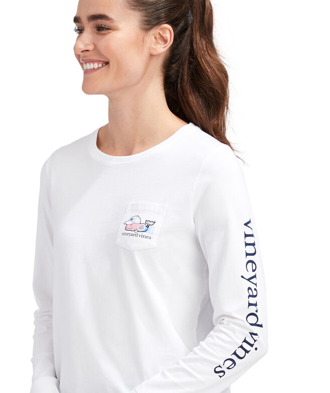 Paddle Tennis Whale Long-Sleeve Pocket Tee