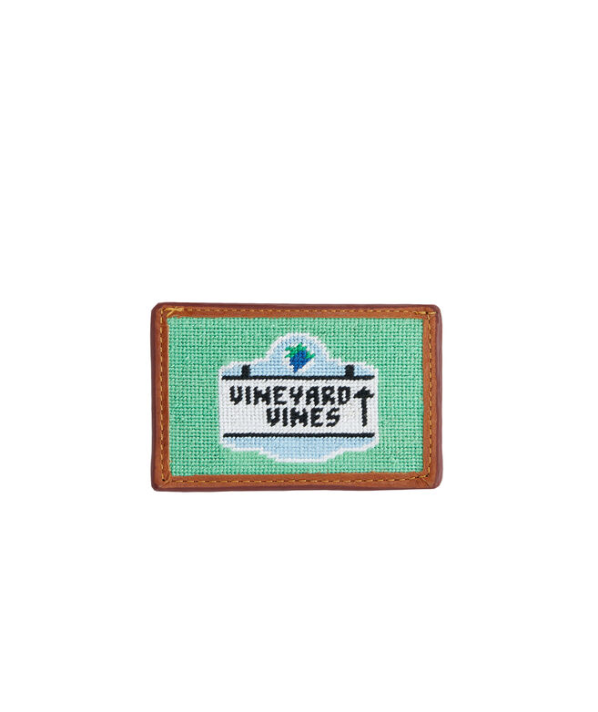 vineyard vines x Smathers & Branson Beach Sign Needlepoint Card Case