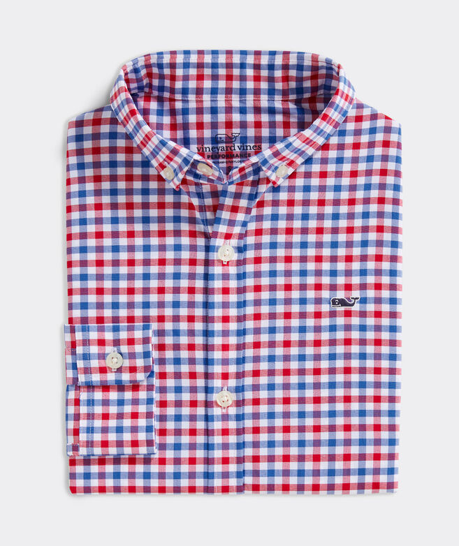 Boys' Grouper On-The-Go Performance Whale Button-Down Shirt