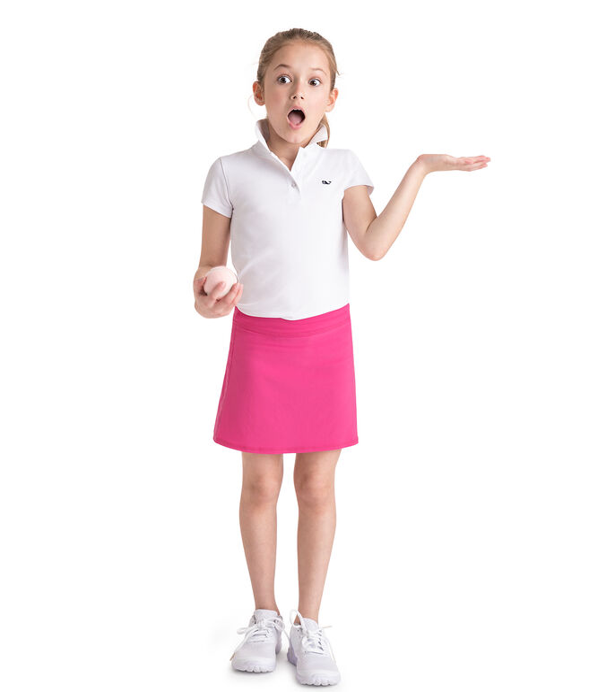 Girls Solid Pleated Golf Performance Skort