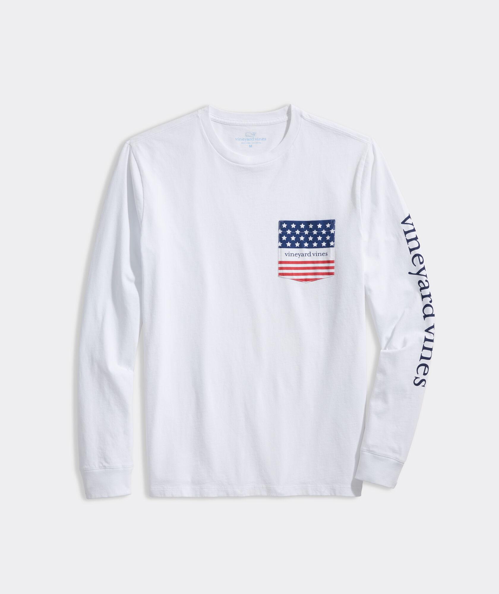 American Flag Logo Long-Sleeve Pocket Tee