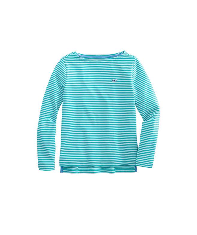 Girls Long-Sleeve Boatneck Sankaty Stripe Simple Tee